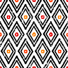 seamless abstract background pattern, with triangles, rhombus, dots, paint strokes and splashes