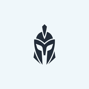 Warrior helmet logo icon design. Spartan, Greek gladiator helmet logotype.