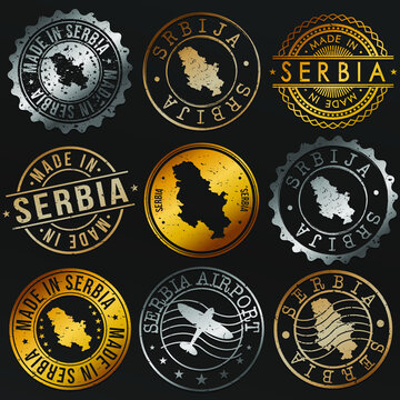 Serbia Map Metal Stamps. Gold Made In Product Seal. National Logo Icon. Symbol Design Insignia Country.