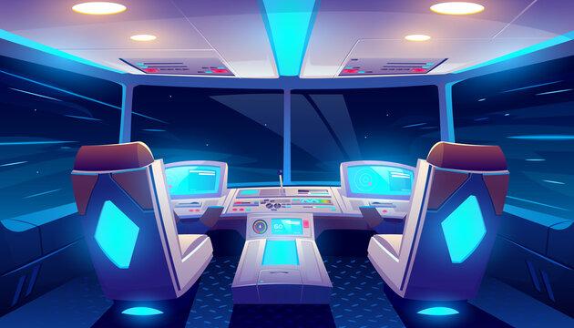 Jet cockpit at night empty airplane cabin interior