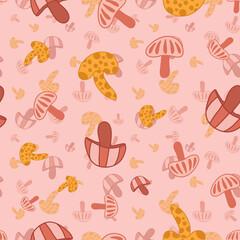 Colorful mushrooms vector repeat pattern-01