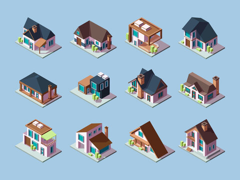 Cottages isometric. Luxury houses small villages residential towns facades garish vector buildings. Illustration front facade contemporary outdoor