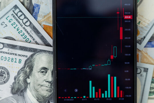Technical chart of stock market on smart phone screen, trading table banknote graph analysis. Stock or forex charts. Hundred dollar bills background, trading concept