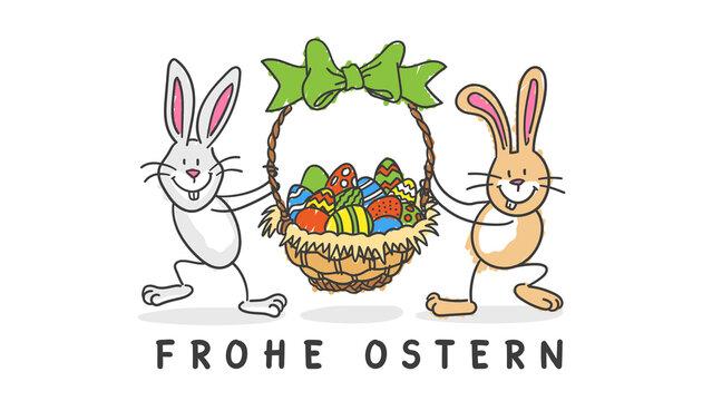 Frohe Ostern Osterhasen mit Osterkörbchen