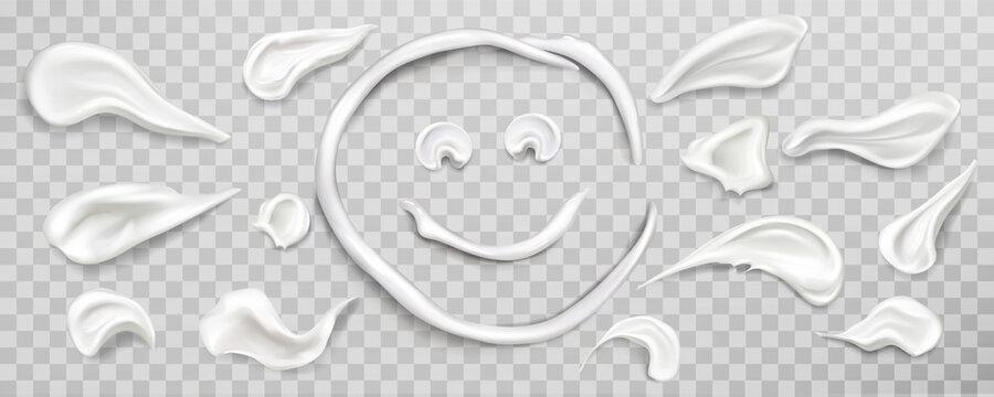 White cream smears swatch set. Cosmetics product