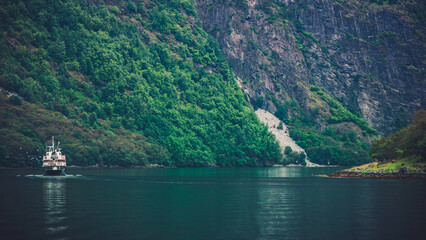 Wall Mural - Norwegian Fjords Landscape with Ferry