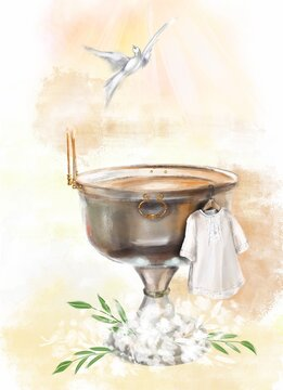 illustration a metal font in a church for the baptism of children and a white baptismal shirt.