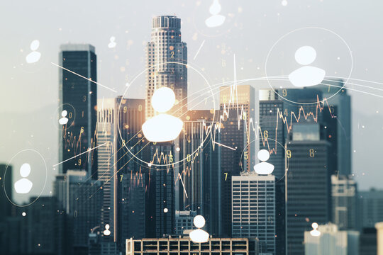 Double exposure of abstract virtual social network icons on Los Angeles city skyscrapers background. Marketing and promotion concept