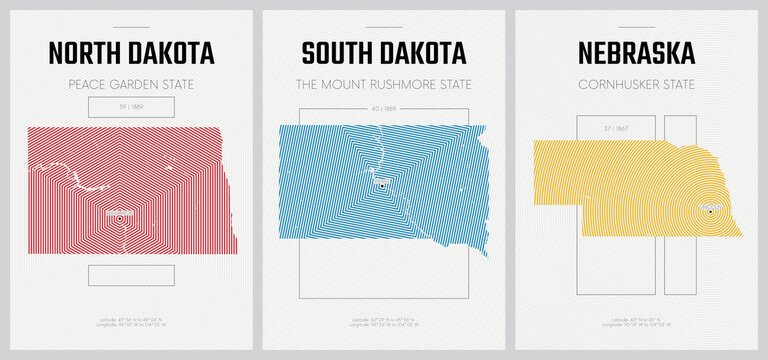 Vector posters detailed silhouettes maps of the states of America with abstract linear pattern, Division West North Central - North Dakota, South Dakota, Nebraska - set 7 of 17