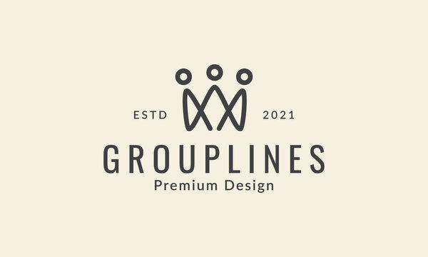 three person group line logo symbol icon vector graphic design illustration