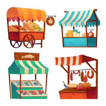 Market stalls, fair booths, wooden kiosk with striped awning and food products. Wood wheeled vendor counter with sunshade for street trading, outdoor retail place, isolated cartoon vector icons set