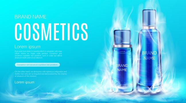 Cosmetics bottles in dry ice smoke cloud mockup