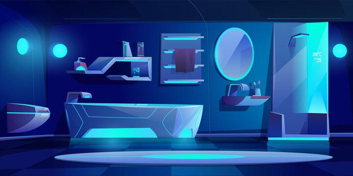 Futuristic bathroom interior furniture and stuff