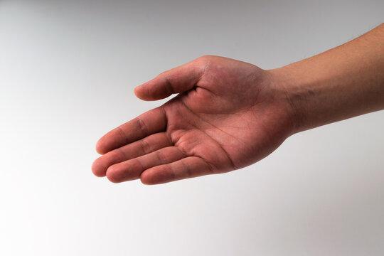 Hand gesture on white background