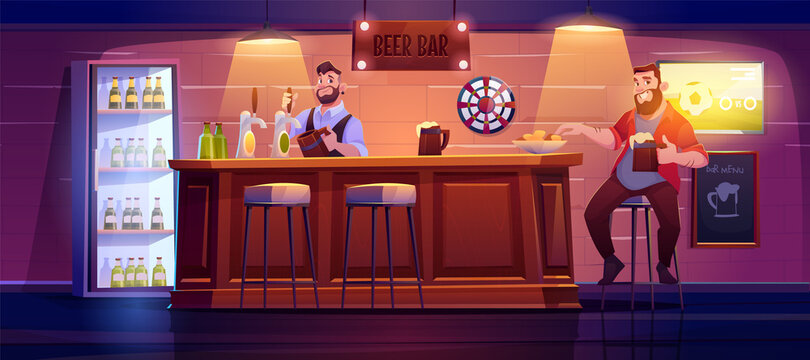 Man in beer bar sit on high stool at wooden desk