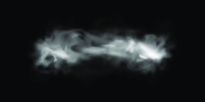 Natural smoke or fog effect on a black transparent background. Vector smoke or fog. Isolated. Vector illustration.
