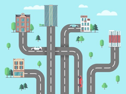 Children road map. Suburb or city, urbanization concept. Top view highway to buildings, car driving to home flat vector illustration. Road traffic and suburb area, architecture and street