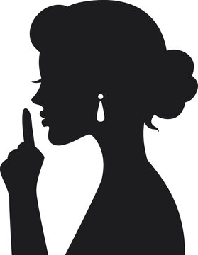 black silhouette Woman hand gesture shows index finger and asks for silence