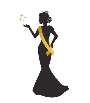 graceful silhouette of a beautiful woman in a crown, a sweater's ribbon and a long dress at a beauty pageant