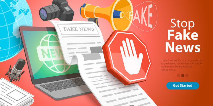 3D Isometric Vector Conceptual Illustration. Stop Lies, Propaganda and Fake News.