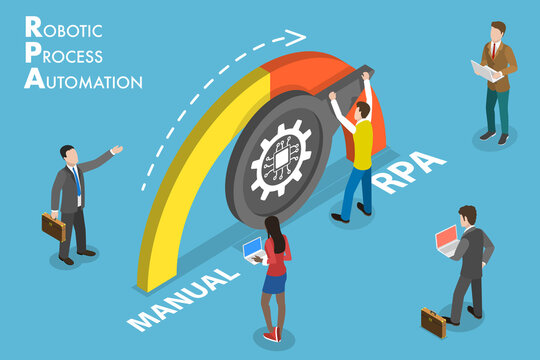 3D Isometric Flat Vector Conceptual Illustration of RPA - Robotic Process Automation, Improving Productivity of Business Processes.