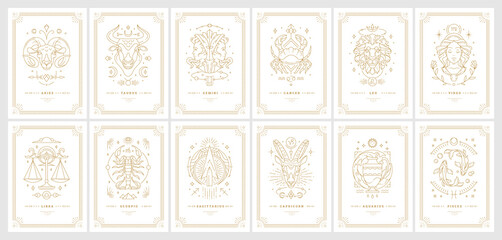 Obraz Zodiac astrology horoscope cards linear design vector illustrations set - fototapety do salonu