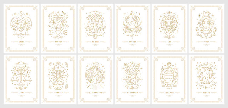 Zodiac astrology horoscope cards linear design vector illustrations set
