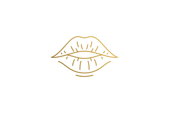 Sensual plump female lips silhouette linear vector illustration.