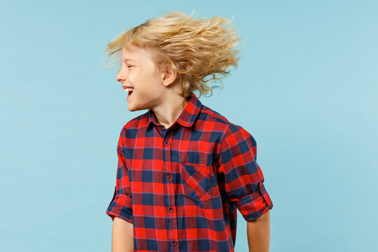 Laughing little curly kid boy 10s years old wearing basic red checkered shirt shaking head with fluttering hair isolated on blue color background children studio portrait. Childhood lifestyle concept.