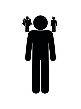 doubting person, inner conflict illustration, devil and angel on shoulders, human silhouette icon