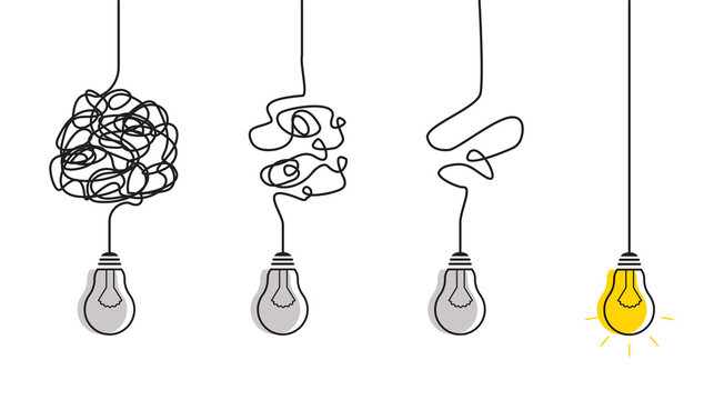 Abstract metaphor of business problem solving or difficult situation. Simplification streamlining process with lightbulbs. Tangle tangled and unraveled.Vector idea concept isolated on white background