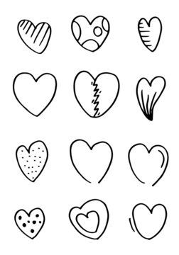 Doodle hearts, hand drawn love heart collection.vector illustration.