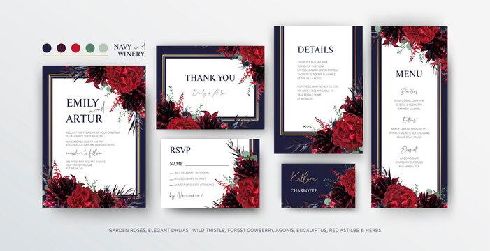 Floral wedding invite, menu, rsvp card editable vector design. Red marsala garden rose flowers, burgundy dahlias, eucalyptus leaves, thistle, bouquet, golden frame on navy blue background. Elegant set