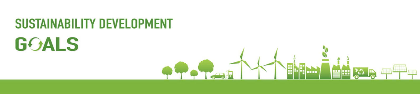 Sustainability development goals and Green Industries Business concept banner