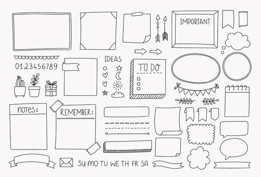 Bullet journal hand drawn vector elements for planner, notebook, diary. Doodle banners isolated on white background. Notes, list, frames, dividers, design elements.