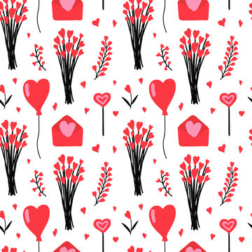 Lovely Valentine seamless pattern. Love objects in red color isolated on white background. Heart flowers bouquet, balloon, letter. Design for home decor, textile, kitchen decor, wrapping paper, cards.