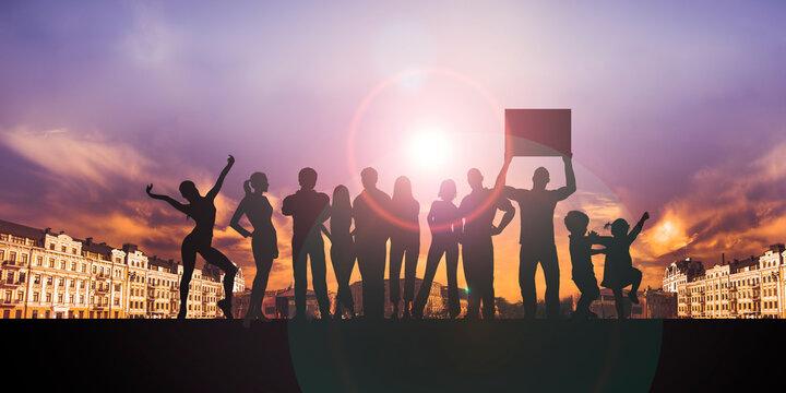 Rejoicing people success achievement