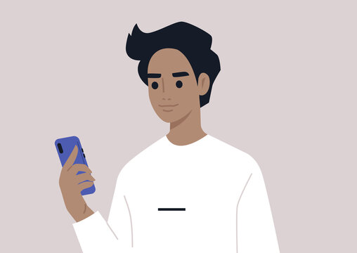 A young male character using a mobile phone, millennial daily life