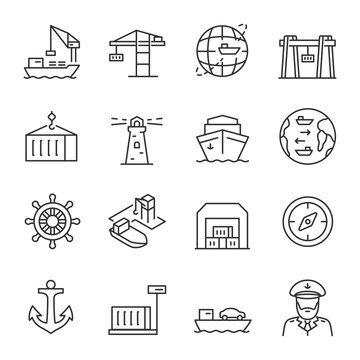 Seaport, icon set. Equipment for the shipping industry. Marine port and freight vessels. Logistic. Line with editable stroke