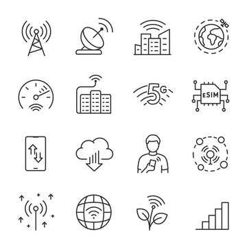 Network, telecommunications, icon set. Data transmission technology, internet and cellular communications. Line with editable stroke