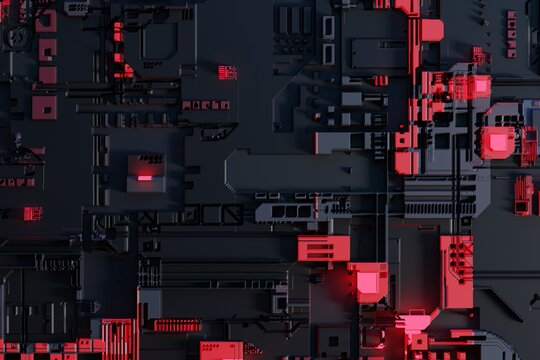 Circuit board or motherboard futuristic server code processing background. Technology background with circuit board or microchip futuristic server design.