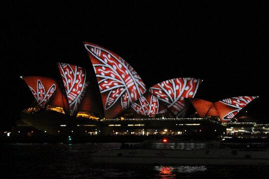 SYDNEY, AUSTRALIA - Jun 11, 2016: Aboriginal art on Sydney Opera House