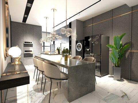 3d render of home kitchen