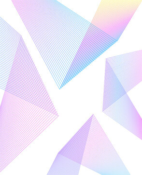 Design elements. Curved sharp corners many streak. Abstract vertical broken stripes on white background isolated. Creative band art. Vector illustration EPS 10. Colors lines created using Blend Tool