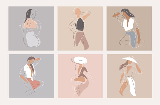 Feminine concept design template and illustration. Woman in minimal linear style Fashion illustration by femininity, beauty and modern art. Abstract poster and t-shirt print Vector illustration
