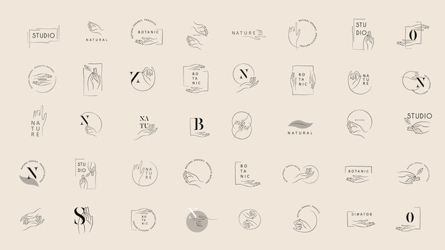 Logo design template in trendy linear minimal style. Vector abstract hands. Abstract symbol for organic products, beauty cosmetics, jewellery and hand crafted.
