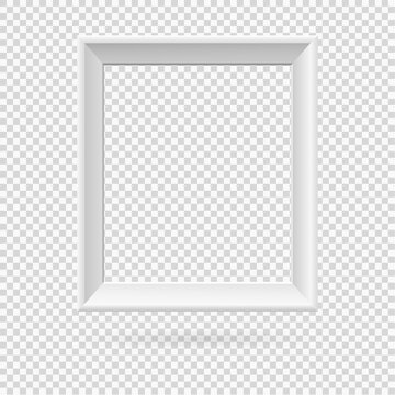 Presentation rectangular picture frame design element with shadow on transparent background. 3D Board Banner wall on isolated clean blank. Vector illustration EPS 10 for photo, image, text