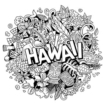 Hawaii hand drawn cartoon doodle illustration. Funny Hawaiian design