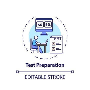 Test preparation concept icon. Online teaching jobs types. Increase students performance on standardized tests idea thin line illustration. Vector isolated outline RGB color drawing. Editable stroke