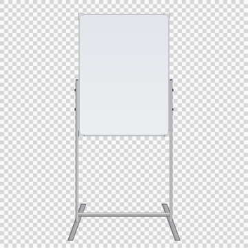 Empty Flip chart blank on tripod over white background. Office Whiteboard For Business Training in office. Isolated Illustration EPS 10. Board Banner Stand 3d rendering for promotional presentation